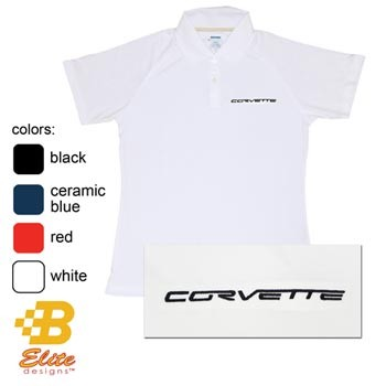C6 Corvette Script Embroidered Ladies Performance Polo Shirt
