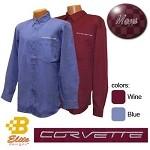 C6 Corvette Script Embroidered Mens or Ladies Long Sleeve Corvette Dress Shirt