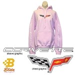C6 Corvette Pink Hooded Sweatshirt with Sleeve Print