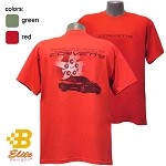 C6 Corvette Happiness on a Red American Made Tee Shirt