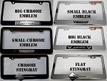 C7 Corvette Stingray 2014+ Chrome or Black License Plate Frames with Emblem