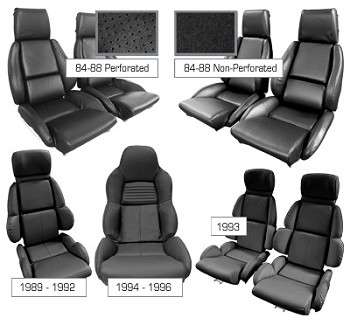 1984-1996 C4 Corvette Black Leather Mounted Standard Seat Covers - Mid Grade Leather Set