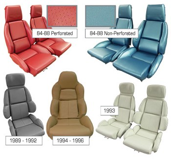 1984-1996 C4 Corvette Leather-Like Mounted Standard Seat Covers, Pair