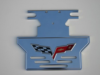 C6 Corvette 2005-2013 Rear Exhaust Plate Vented Style with Logo
