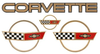 84-90 C4 Corvette Gold Emblem Set. 3 Pieces
