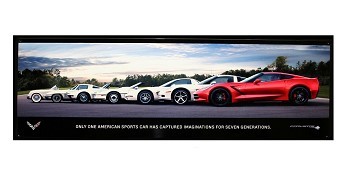 Corvette All Generation Steel Wall Poster