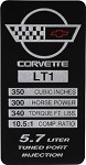 84-96 C4 Corvette Data Spec Plate