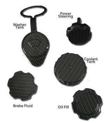 C6 C5 Corvette 97-13 Black Hydro Carbon Engine Cap Set