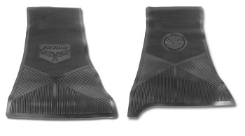C3 68-82 Corvette Black Rubber Logo Mat Set
