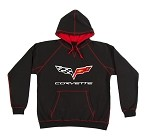 C6 Corvette Black Hoodie with Red Trim
