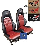 C5 Corvette Embroidered 100% Leather Seat Covers - 2 Tone