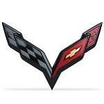 C7 Corvette Stingray 2014+ Cross Flags Emblem - Carbon Flash