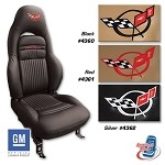 C5 Corvette Embroidered 100% Leather Seat Covers - Solid