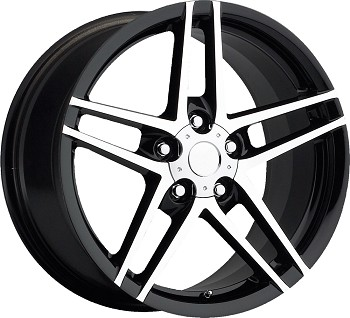 Corvette C6 Z06 Style 05-13 Black With Machined Face Wheel Set 18x8.5/19x10