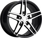 Corvette C6 Z06 Style 05-13 Black With Machined Face Wheel Set 18x9.5/19x10