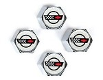 C3 C4 Corvette 1968-1996 Crossed Flags Logo Valve Stem Caps