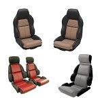 1984-1996 C4 Corvette 100% Leather 2-Toned Standard Seat Covers - Pair - w/ Option to Mount Foams & Embroider