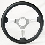 C3 Corvette 1968-1982 Leather & Brushed Aluminum Steering Wheels - 4 Color Options