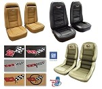 C3 Corvette 1972-1982 Embroidered OE Reproduction Leather Seat Covers - Leather/Vinyl