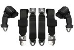 1970-71 Corvette Seat Belts, 3 Point Retractable Horizontal Mount, Economy Pair