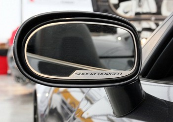 "Corvette C6 Side View Mirror Trim 2Pc ""Supercharged"" Script 2005-2013"