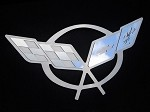 97-04 C5 Corvette Stainless Steel Hood Panel Badge - Crossed Flags