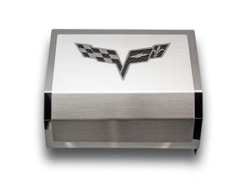 C6 2005-2013+ Corvette Brushed/Polished Fuse Box Cover with Logo Crossed Flags