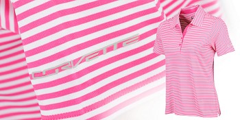 C7 Corvette 2014+ Pink Perfection Striped Ladies Polo