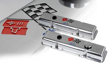 Corvette C3 1960-82 Polished Valve Covers - Crossed Flag Engraved