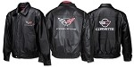 C4 C5 C6 Corvette Leather Jacket - Embroidered Front & Back