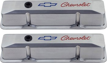 Corvette C3 1960-82 Chrome Valve Covers - Engraved With Chevy Bowtie