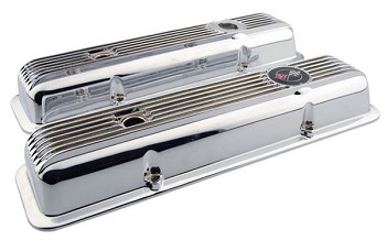 C3 1968-Early 1986 Aluminum Finned Small Block Valve Covers in Chrome
