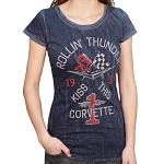 Corvette Rollin' Thunder Ladies Scoop Neck Tee Shirt