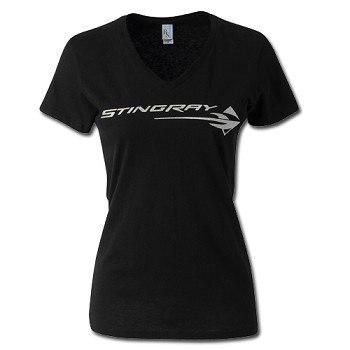 LADIES Corvette C7 STINGRAY METALLIC V-NECK TEE