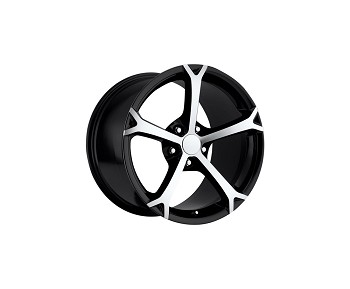 C6 06-13 2010 Grand Sport Black w/Machined Spokes Wheel Set 18x9.5/19x12