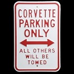 C3 C4 C5 C6 Corvette Parking Only Signs