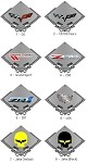 Corvette C6 Carbon Fiber Metal Style Sign - 3 Finish Selections Grand Sport, Z06, ZR1 & Crossed Flags