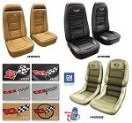 1972-1978 C3 Corvette Embroidered Leather Seat Covers Leather/Vinyl Original