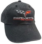 Universal Corvette 1968-2014+ Racing Embroidered Weathered Cap - Black