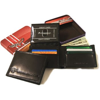 C5 C6 Corvette Black/Brandy Italian Leather Bifold Wallet
