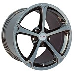 C6 Corvette OEM Grand Sport Wheels 18X9.5 / 19X12 - Black Chrome