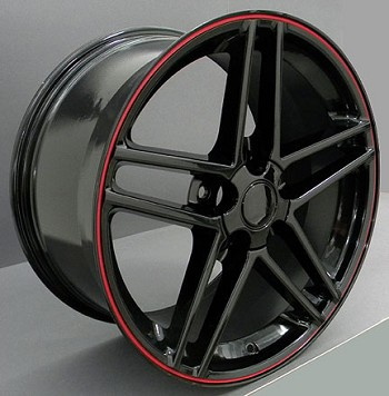 Corvette C5/C4 97-04 84-96 Fitments Z06 Style Wheels Black with Red Band Stripes COMPLETE SET