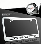 Corvette C6 License Plate Frame Chrome - Lettering Only w/ Flag Screw Cap Covers