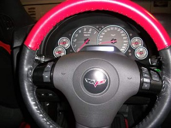 Corvette C6 Two-Tone/Solid Leather Steering Wheel Cover