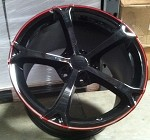 Corvette C6 05-13 Grand Sport 18x9.5 / 19x12 Black Red Stripe Wheel Set