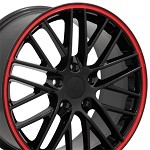 Corvette C6 ZR1 Style Wheels Set 05-13 Gloss Black w/ Red Stripes 18x9.5/19x10
