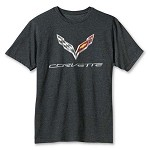 2014+ C7 Corvette T-Shirt w/ C7 Corvette Logo and Script - White, Black, Blue or Heather Grey