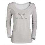 2014+ C7 Corvette Ladies Silver Long Sleeve Shirt w/ C7 Logo and Script