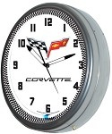 2005-2013 C6 Corvette Crossed Flags Neon Clock - 20in