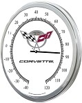 1997-2004 C5 Corvette Thermometers - Crossed Flag Logo & 50th Anniversary - 14in